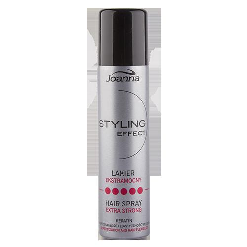 Лак для волос `JOANNA` STYLING EFFECT экстрасильной фиксации с кератином 60 млУкладка<br>Лак предназначен для тех, кто любит  экстра сильную  фиксацию причёски. Гарантирует продолжительность и блеск, а также эластичность и лёгкость. В состав входит кератин и активные компоненты, которые оберегают волосы  от пересушивания. Лак не склеивает и не высушивает волосы, легко вычесывается.<br>