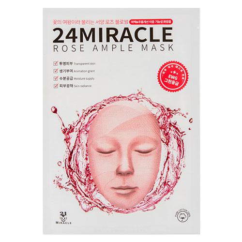 Маска для лица `24 MIRACLE` AMPLE MASK с экстрактом розы 25 млМаски<br>Маска прекрасно питает сухую кожу и придает ей здоровое сияние, благодаря экстракту розы, который эффективно увлажняет, успокаивает, улучшает микроциркуляцию, насыщает кожу витаминами и полезными микроэлементами. Масло розмарина, входящее в состав,  отлично способствует обновлению клеток кожи, выравнивает рельеф кожи, обладает свойством хорошо стягивать поры. Комплекс аминокислот нормализует выработку кожного сала, восстанавливает состояние кожи. Березовый сок способствует очищению кожи, тонизирует и освежает, делает ее более упругой.<br>