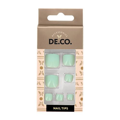 Набор накладных ногтей для педикюра DE.CO. ESSENTIAL Mint 24 шт+ клеевые стикеры 24 шт