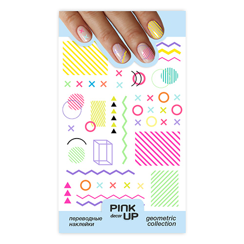 Наклейки для ногтей PINK UP DECOR GEOMETRY переводные тон 626
