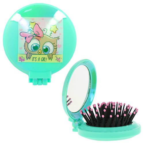 Купить Расческа для волос MISS PINKY OWL с зеркалом мятная, КИТАЙ/ CHINA