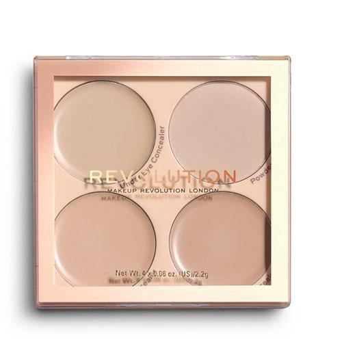 Палетка для макияжа лица: консилеры и фиксирующая пудра REVOLUTION MATTE BASE CONCEALER KIT C1-4