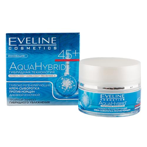 Крем-сыворотка для лица `EVELINE` `AQUA HYBRID` дневной и ночной 45+ (против морщин) 50 млАнтивозрастной уход<br>Глубоко регенерирующий крем-сыворотка против морщин 45+  обеспечивает комплексный омолаживающий уход за кожей. Тщательно подобранные натуральные компоненты усиливают действие комплексов Anti-age, благодаря чему кожа становится идеально гладкой, более плотной и глубоко обогащенной питательными микроэлементами и витаминами.<br>