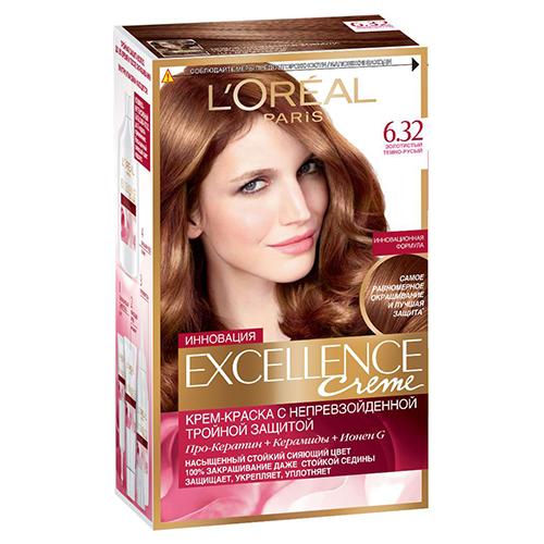 Крем-краска для волос `LOREAL` `EXCELLENCE` тон 6.32 (Золотистый темно-русый) 40 млОкрашивание<br>Крем-краска для волос Экселанс защищает волосы до, во время и после окрашивания. Уникальная формула краски  из Керамида, Про-Кератина и активного компонента Ионена G, которые обеспечивают 100%-ное окрашивание седины и способствуют длительному сохранению интенсивности цвета. Сыворотка, входящая в состав краски, оказывает лечебное действие, восстанавливая поврежденные волосы, а густая кремовая текстура краски обволакивает каждый волос, насыщая его интенсивным цветом. Специальный бальзам-уход делает волосы плотнее, укрепляет их, восстанавливая естественную эластичность и силу волос.<br>В состав упаковки входит: защищающая сыворотка (12 мл), флакон-аппликатор с проявителем (72 мл), тюбик с красящим кремом (48 мл), флакон с бальзамом-уходом (60 мл), аппликатор-расческа, инструкция, пара перчаток.<br>