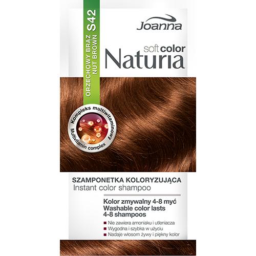 Оттеночный шампунь для волос JOANNA NATURIA SOFT тон 42 Ореховый коричневыйОкрашивание<br>Не содержит аммиака и окислителей,  цвет сохраняется до  4-8 процедур мытья волос?, Рецептура обогащена мультивитаминным комплексом, который питает и увлажняет волосы.<br>*Интенсивность цвета зависит от исходного цвета и состояния волос.<br>