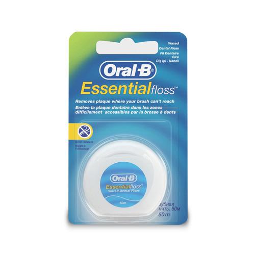 НИТЬ ORAL-B зубная Essential вощеная мятная 13241559Зубные щетки<br>Легко проникает даже между плотно стоящими зубами<br><br>– Мятный вкус, вощёная нить 50 метров<br>– Удаляет бактериальный зубной налёт в области межзубных промежутков и вдоль линии десны<br>– Тонкая, легко скользящая нить <br>– Легко приникает даже между плотно стоящими зубами <br><br>Преимущества:<br>Удобство применения <br>Более качественное очищение  <br>Соотношение цена/качество <br>Легко скользит <br>Очищает там, где не может даже щётка <br>Специально разработанная нить имеет полимерное покрытие, которое упрощает процесс удаления зубного налета.<br>