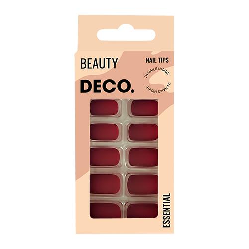 Набор накладных ногтей DECO. ESSENTIAL matt cherry 24 шт + клеевые стикеры 24 шт