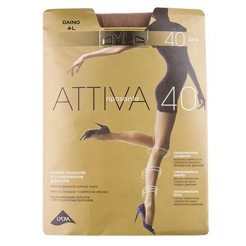 Колготки женские `OMSA` ATTIVA 40 den (Daino) р-р 4Колготки<br>Эластичные поддерживающие колготки 40 DEN с распределенным давлением по ноге, корректирующими штанишками с комфортными швами и гигиеничной ластовицей.<br>