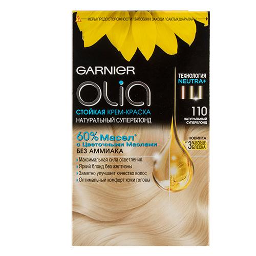Краска для волос `GARNIER` `OLIA` тон 110 (Ультраблонд)Окрашивание<br>Garnier Olia - первая стойкая крем-краска без аммиака c цветочным маслом. Olia обеспечивает максимальную силу цвета и заметно улучшает качество волос. Обеспечивает уникальное чувственное нанесение, оптимальный комфорт кожи головы и обладает изысканным цветочным ароматом. <br>Узнай больше об окрашивании на http://coloracademy.ru//<br>В состав упаковки входит: тюбик с молочком-проявителем; тюбик с крем-краской; флакон с бальзамом-уходом для волос Шелк и Блеск;  инструкция; пара перчаток .<br>