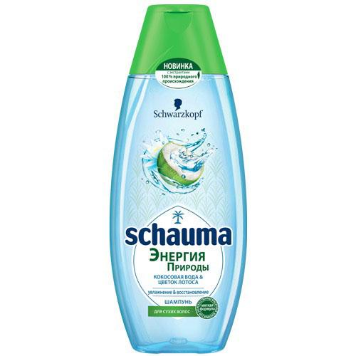 Купить Шампунь для волос SCHAUMA ЭНЕРГИЯ ПРИРОДЫ Кокосовая вода и цветок лотоса 400 мл, РОССИЯ/ RUSSIA