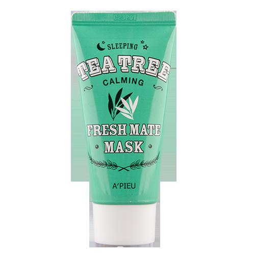 Ночная маска для лица APIEU FRESH MATE MASK успокаивающая с маслом чайного дерева 50 млМаски<br>Ночная маска для лица содержит водный настой чайного дерева, масло листьев чайного дерева, экстракт листьев розмарина, экстракт портулака, экстракт алоэ вера, экстракт окопника. Масло чайного дерева помогает в борьбе с прыщами и акне, отлично очищает кожу, выравнивает тон. <br>Экстракт листьев розмарина тонизирует кожу, освежает, стимулирует кровообращение, снимает раздражения кожи.<br>Экстракт портулака способствует уменьшению глубоких морщин, обладает тонизирующим действием, способствует регенерации кожи. Экстракт алое прекрасно увлажняет и питает кожу, способствует выработке коллагена, замедляет процесс старения, препятствует образованию акне и образует защитный слой на коже, защищая от вредного воздействия окружающей среды.<br>