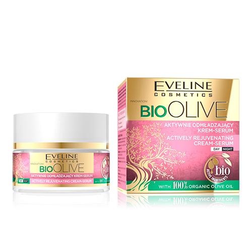 Крем-сыворотка для лица EVELINE BIO OLIVE активно омолаживающий дневной/ночной 50 мл