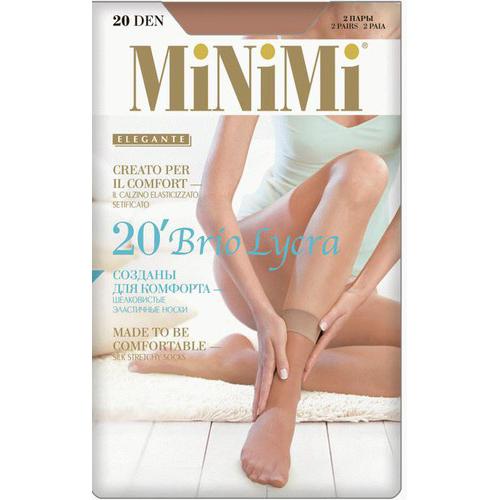Носки женские `MINIMI` BRIO 20 den (Daino) 2 парыГольфы и носки<br>Тонкие эластичные шелковистые носки с невидимым усиленным мыском, с комфортной резинкой.<br>