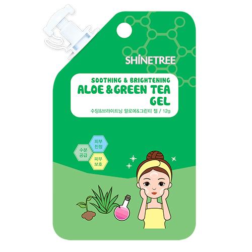 Гель для лица SHINETREE успокаивающий с экстрактом алоэ и зеленого чая 12 мл