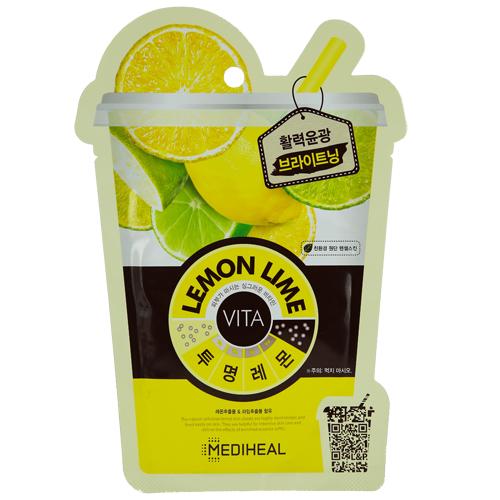 Маска для лица `MEDIHEAL` VITA Цитрус 20 млМаски<br>Тканевая маска для лица на основе хлопчатобумажного волокна пропитана экстрактом лимона и лайма (25мг).Волокна ткани плотно прилегают к коже и не дают ценным экстрактам испаряться. При этом маска хорошо пропускает воздух и позволяет коже дышать.Экстракт лимона содержит лимонную и яблочную кислоты и витамин С, которые ухаживают за кожей, даря ей сияние, а экстракт лайма укрепляет кожу. Входящие в состав ингредиенты, обеспечат кожу необходимыми витаминами, микро- и макроэлементами, необходимыми для ровного, здорового цвета лица и сияния. Эффект от применения маски вы увидите мгновенно!<br>