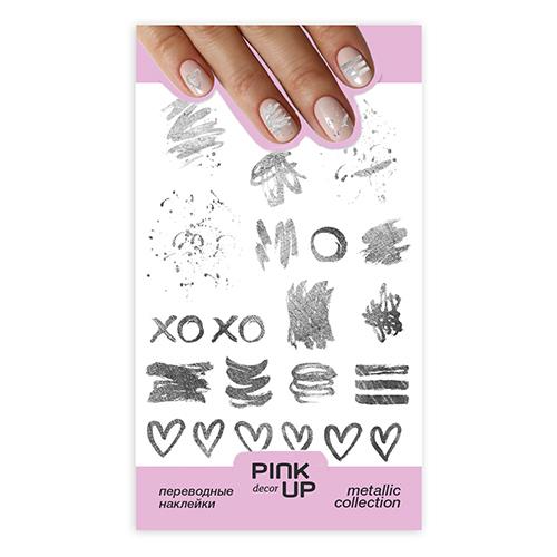 Наклейки для ногтей PINK UP DECOR METALLIC переводные тон 640
