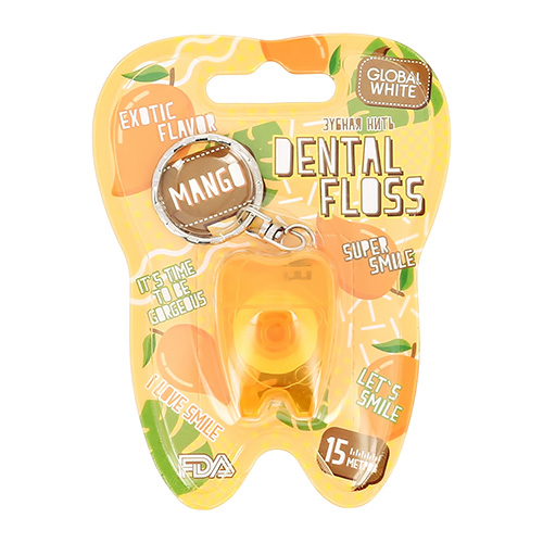 Купить Нить зубная GLOBAL WHITE Mango 15 м, КИТАЙ/ CHINA