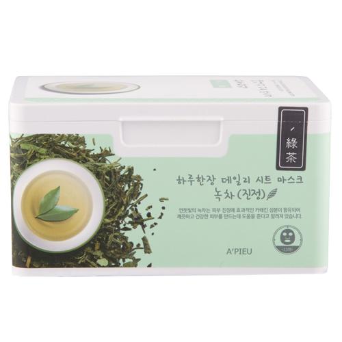 Маска для лица `A`PIEU` с экстрактом зеленого чая 33 штМаски<br>Упаковка масок для лица на каждый день, которые помогут вернуть здоровый вид уставшей коже!<br>Экстракт зеленого чая, входящий в состав,  эффективно успокаивает чувствительную кожу, прекрасно устраняет покраснения и чрезмерную жирность, активно очищает и сужает поры, способствует нормализации обменных процессов в коже. Экстракт бамбука восстанавливает эластичность и упругость кожи. Экстракт алоэ оказывает мощное антиоксидантное, антибактериальное, заживляющее и тонизирующее действие.<br>Каждая маска выполнена из сочетания волокон натуральной ткани, вырабатываемой из целлюлозы, и хлопкового волокна, что обеспечивает комфортное прилегание маски к коже.<br>