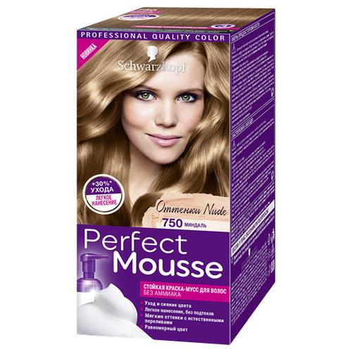 Краска-мусс для волос `PERFECT MOUSSE` тон 750 (миндаль) 35 млОкрашивание<br>ПРИДАЙТЕ ВОЛОСАМ ИНТЕНСИВНЫЙ ГЛЯНЦЕВЫЙ БЛЕСК!<br>100% стойкости, 0% аммиака, на 30% больше ухода*<br>Хотите окрасить волосы без лишних усилий? Попробуйте самый простой способ! Легкое дозирование и равномерное нанесение без подтеков благодаря удобному флакону-аппликатору и насыщенной текстуре мусса. С Perfect Mousse добиться идеального цвета невероятно легко!<br><br>* по сравнению с волосами, необработанными кондиционером<br>