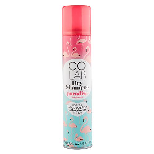 Шампунь для волос `COLAB` `DRY SHAMPOO` PARADISE сухой   200 млШампуни <br>Colab - сухой шампунь, который избавит от необходимости ежедневно мыть голову и тратить время на долгую укладку феном. Революционная формула позволяет оживить и освежить внешний вид волос в любое время и в любом месте, не оставляя при этом белого налета. Быстро абсорбирует излишки жира на волосах, освежает и текстурирует, придавая волосам роскошный тонкий аромат тропических фруктов и сладкого кокоса, который держится на волосах весь день.<br>
