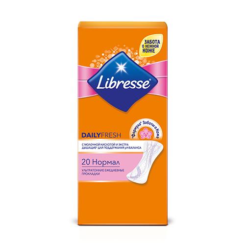 Прокладки ежедневные `LIBRESSE` DAILY FRESH Normal ультратонкие 20 штПрокладки ежедневные<br>Ультратонкие (0,8 мм) ежедневные прокладки для классической типа белья<br>