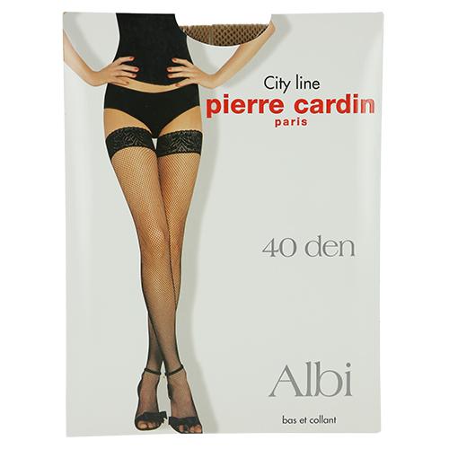 Чулки женские `PIERRE CARDIN` ALBI 40 den (Visone) р-р 3Чулки<br>Чулки в сетку, кружевная отделка с двойной силиконовой поддержкой 8 см. (Чулки в мелкую сетку)<br>