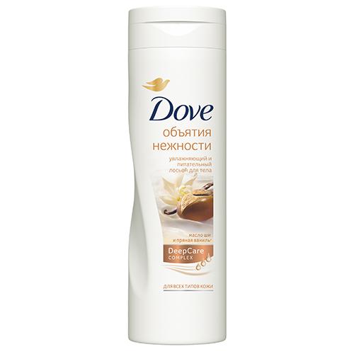 Лосьон для тела DOVE ОБЪЯТИЯ НЕЖНОСТИ  250 млПитание и увлажнение<br>Появление бренда Dove связано с созданием уникального очищающего средства для кожи, не содержащего щелочи. Формула единственного в своем роде крем-мыла на четверть состоит из увлажняющего крема - именно это его качество помогает защищать кожу от раздражения и сухости, которые неизбежны при использовании обычного мыла.Dove —марка, которая известна благодаря авангардному изобретению: мягкому крем-мылу. Dove любим миллионами, ведь они не содержат щелочи, оказывают мягкое, щадящее воздействие на кожу лица и тела.Удивительное по своим свойствам крем-мыло довольно быстро стало одним из самых популярных косметических средств. Успех этого продукта был настолько велик, что производители долгое время не занимались расширением ассортимента. Прошло почти сорок лет с момента регистрации товарного знака Dove, прежде чем свет увидел крем-гель для душа и другие косметические средства этой марки. Все они создаются на основе формулы, разработанной еще в прошлом веке, но не потерявшей своей актуальности.На сегодняшний день этот бренд по праву считается олицетворением красоты, здоровья и женственности. Помимо женской линии косметики выпускаются детские косметические средства и косметика для мужчин. Несмотря на широкий ассортимент предлагаемых средств по уходу за кожей и волосами, завоевавших признание в более чем 80 странах по всему миру, производители находятся в постоянном поиске новых формул.Dove считается одним из ведущих в своей области. Он известен миллионам людей в почти сотне стран по всему миру. В мире Dove красота — это источник уверенности в себе, а не беспокойства. Миссия бренда — дать новому поколению возможность расти в атмосфере позитивного отношения к собственной внешности. Лосьон Dove Объятия нежности глубоко питает и смягчает кожу благодаря великолепному сочетанию питательного крема и масла ши. А сладость пряной ванили подарит ощущение полной гармонии с собой и окружающим миром. Превратите свой ежедн