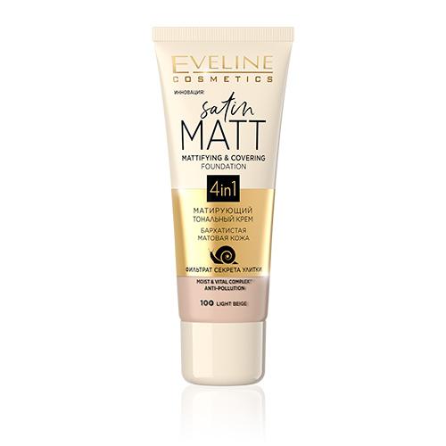 Крем тональный для лица EVELINE SATIN MATT матирующий тон 100 light beige