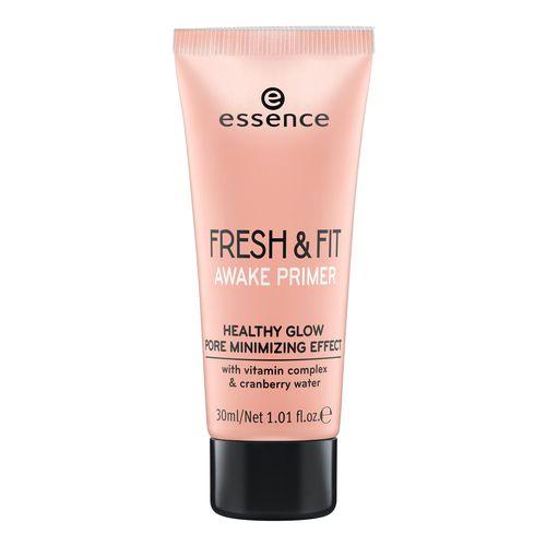 Праймер для лица ESSENCE FRESH &amp; FIT AWAKEТональные средства<br>Легкая текстура со светоотражающими частичками освежает кожу, выравнивает цвет лица и продлевает стойкость макияжа. Праймер можно использовать как основу под тональное средство, так и как cамостоятельный продукт. Содержит витамины и гидролат клюквы.<br>
