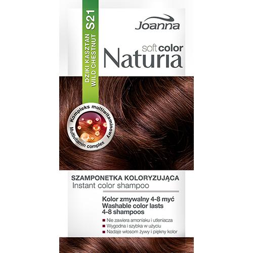 Оттеночный шампунь для волос `JOANNA` NATURIA SOFT тон 21 (Дикий каштан)Окрашивание<br>Не содержит аммиака и окислителей,  цвет сохраняется до  4-8 процедур мытья волос?, Рецептура обогащена мультивитаминным комплексом, который питает и увлажняет волосы.<br>*Интенсивность цвета зависит от исходного цвета и состояния волос.<br>