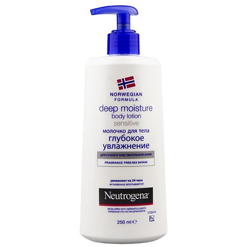 Молочко для тела `NEUTROGENA` Глубокое увлажнение для сухой и чувствительной кожи 250 млПитание и увлажнение<br>Neutrogena НОРВЕЖСКАЯ ФОРМУЛА Молочко для тела Глубокое увлажнение для сухой и чувствительной кожи. Без запаха. Поскольку у Вас сухая и чувствительная кожа,она острее реагирует на агрессивное воздействие внешней среды и нуждается в более тщательном уходе. Neutrogena предлагает решение: ежедневное Молочко для тела,протестированное дерматологами на сухой и чувствительной коже, глубоко проникает в Вашу кожу, обеспечивая 24-ч. увлажнение всего после 1ого применения.Клинически доказано,что уникальная формула молочка проникает до 10 слоя клеток рогового слоя эпидемиса ,обеспечивая увлажнение там, где это больше всего необходимо. День за днем Вы возвращаете Вашей коже комфорт.Без запаха , формула молочка разработана таким образом, чтобы снизить риск аллергических реакций. Его легкая текстура мнгновенно впитывается , не оставляя жирной пленки. Вы можете одеваться сразу же после его применения.РАЗРАБОТАНО ПРИ УЧАСТИИ ДЕРМАТОЛОГОВ.<br>