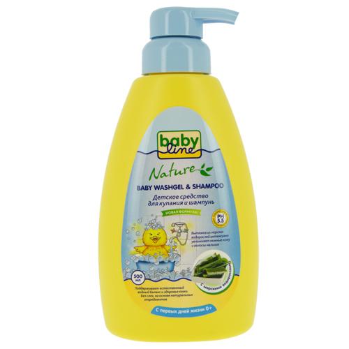 Купить Средство для купания и шампунь детский BABYLINE с морскими водорослями 500 мл, ИЗРАИЛЬ/ ISRAEL