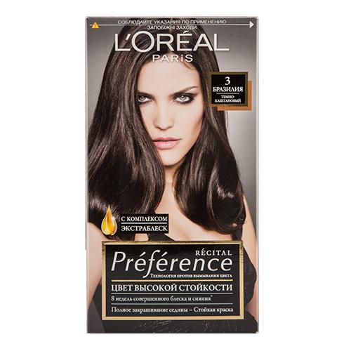Краска для волос `LOREAL` `PREFERENCE` тон 3  БразилияОкрашивание<br>Краска для волос Лореаль Париж Преферанс - премиальное качество окрашивания! Она создана ведущими экспертами лабораторий Лореаль Париж в сотрудничестве с профессиональным колористом Кристофом Робином. В результате исследований был разработан уникальный состав краски, основанный на более объемных красящих пигментах. Стойкая краска способна дольше удерживаться в структуре волос, создавая неповторимый яркий цвет, устойчивый к вымыванию и возникновению тусклости. Комплекс Экстраблеск добавит блеска насыщенному цвету волос. Красивые шелковые волосы с насыщенным цветом на протяжении 8 недель после окрашивания! <br>В состав упаковки входит: флакон гель-краски (60 мл), флакон-аппликатор с проявляющим кремом (60 мл), бальзам Усилитель цвета (54 мл), инструкция, пара перчаток.<br>