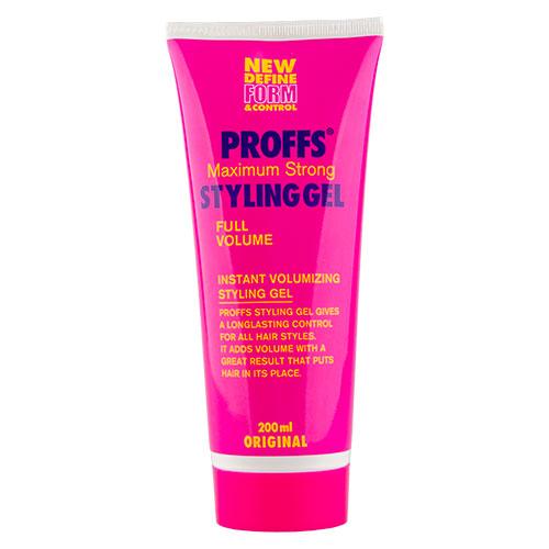 Гель для укладки волос `PROFFS` сильной фиксации 200 млУкладка<br>Стайлинговый гель сильной фиксации обеспечивает максимальный уровень контроля укладки волос в течение всего дня, идеально подходит для коротких волос. Легко смывается, не утяжеляет волосы. Придает дополнительный объем.<br>