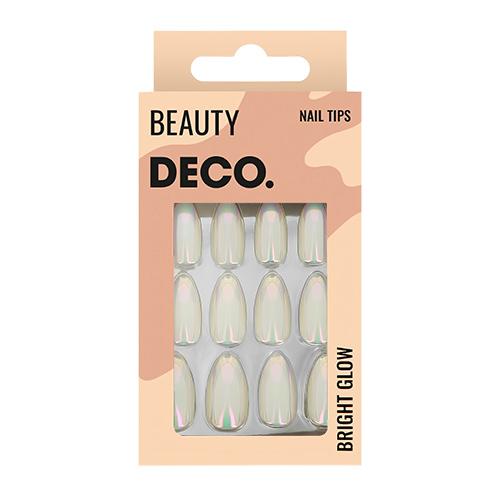 Набор накладных ногтей DECO. BRIGHT GLOW sand sparkle 24 шт + клеевые стикеры 24 шт