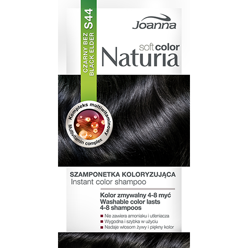 Оттеночный шампунь для волос `JOANNA` NATURIA SOFT тон 44 (Черная сирень)Окрашивание<br>Не содержит аммиака и окислителей,  цвет сохраняется до  4-8 процедур мытья волос?, Рецептура обогащена мультивитаминным комплексом, который питает и увлажняет волосы.<br>*Интенсивность цвета зависит от исходного цвета и состояния волос.<br>