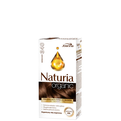 Краска для волос `JOANNA` NATURIA ORGANIC чайный (тон 340)Окрашивание<br>В красках Naturia Organic были исключены высоко раздражающие субстанции, такие, как аммиак и п-Фенилендиамин. Рецептуры содержат химические субстанции в наименьших возможных пропорциях, чтобы минимализировать риск повреждения волос и появление раздражения. <br>Аппликационные исследования подтвердили, что окрашивание волос краской Naturia Organic делает их более увлажненными, ухоженными и исключительно блестящими. Идеально закрашивает седые волосы. Рецептура была обогащена аргановым маслом, которое дополнительно защищает волосы и кожу головы во время окрашивания.<br>