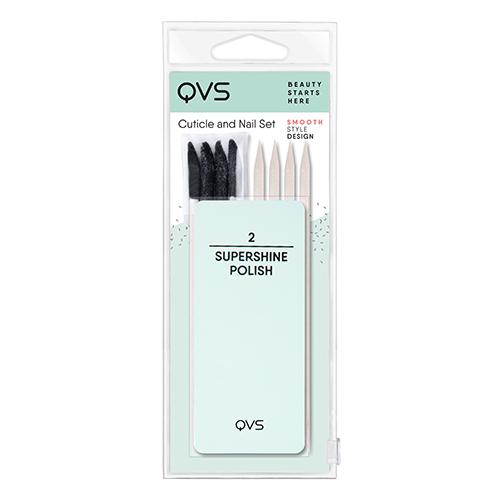 Набор для ухода за ногтями и кутикулой `QVS` (мини-баф/полировка, палочки для кутикулы)Для маникюра и педикюра<br>Набор для ухода за ногтями и кутикулой (мини-баф/полировка, палочки для кутикулы)<br>