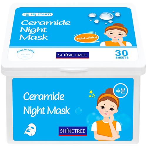 Маска для лица SHINETREE ночная с керамидами увлажняющая 30 шт