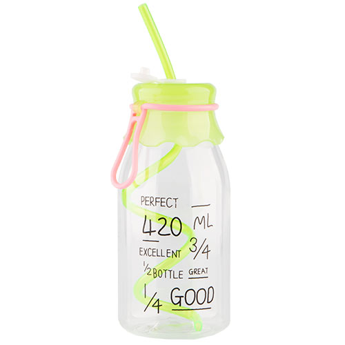 Бутылка для воды FUN с трубочкой green 550 мл