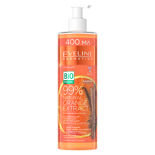 Крем-гель для тела EVELINE BIO ORGANIC согревающий питательно-укрепляющий корица, имбирь, ваниль 400 мл