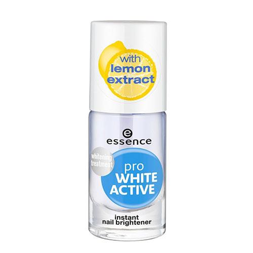 Лак для ногтей `ESSENCE` PRO WHITE ACTIVE отбеливающийУход за ногтями<br>В состав формулы средства входит натуральный экстракт лимона, который эффективно борется с желтизной. Благодаря своей слегка фиолетовой текстуре оно заметно осветляет ногти и может использоваться в качестве базового покрытия, защищая ногти от обесцвечивания, что особенно актуально при использовании темных лаков.<br>