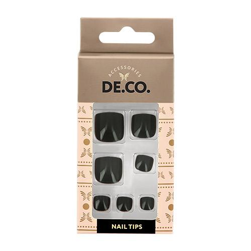 Набор накладных ногтей для педикюра DE.CO. ESSENTIAL Black 24 шт+ клеевые стикеры 24 шт