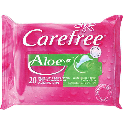 Салфетки влажные для интимной гигиены CAREFREE Алоэ 20 шт