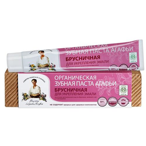 Паста зубная `РЕЦЕПТЫ БАБУШКИ АГАФЬИ` Брусничная (для укрепления эмали) 75 млЗубные пасты<br>Для укрепления эмали, на основе органического экстракта таежной брусники, монгольского чая и 7 минералов.<br>Обеспечивает эффективный уход за полостью рта, укрепляет зубную эмаль, препятствует возникновению микротрещин, снижает чувстительность зубной эмали. Природные мелкозернистые абразивные компоненты способствуют эффективному и бережному удалению зубного налета.<br>Не содержит вредных для здоровья компонентов. Без SLS, SLES, фталата, парабенов, фтора, формальдегида, тяжелых металлов, глютена, сахара, алюминий содержающих компонентов, хлоргексидина, минеральных масел.<br>