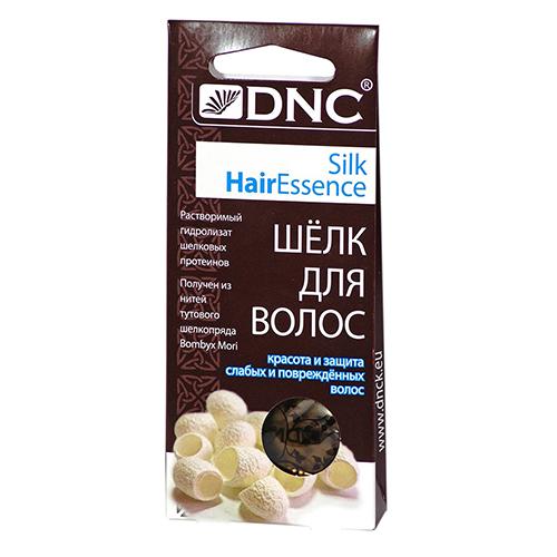 Шелк для волос DNC  4x10 млСпециальные средства<br>Гидролизат шелковых протеинов взаимодействует со структурой волос. Он очень близок к естественным тканям по своему строению, отлично заполняет и восстанавливает поврежденные фрагменты. Улучшает защитные функции. Придает мягкость, эластичность и здоровый блеск. Прекрасное средство для поддержания цвета окрашенных волос. Способствует глубокому и длительному увлажнению кожи головы.<br>