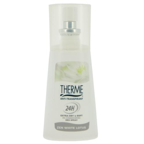 Део-спрей жен. THERME WHITE LOTUS (антиперспирант) 75 млДезодоранты<br>С нежным ароматом Белого Лотоса. Устраняет  бактерии, поддерживает натуральный PH баланс кожи, не вызывает раздражения.<br>