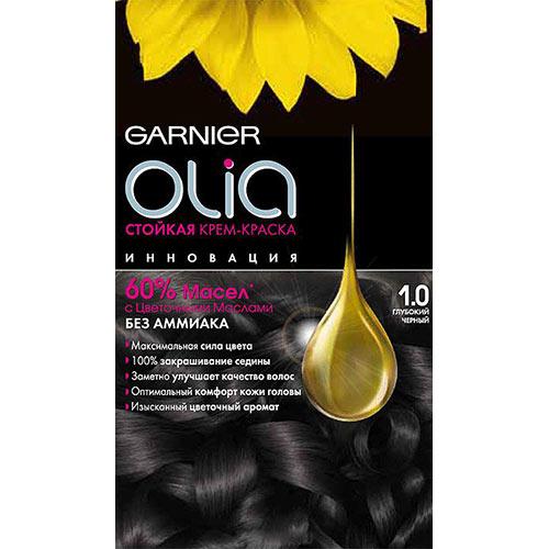 Краска для волос `GARNIER` `OLIA` Тон 1.0 (Глубокий черный)Окрашивание<br>Garnier Olia - первая стойкая крем-краска без аммиака c цветочным маслом. Olia обеспечивает максимальную силу цвета и заметно улучшает качество волос. Обеспечивает уникальное чувственное нанесение, оптимальный комфорт кожи головы и обладает изысканным цветочным ароматом. <br>Узнай больше об окрашивании на http://coloracademy.ru//<br>В состав упаковки входит: тюбик с молочком-проявителем; тюбик с крем-краской; флакон с бальзамом-уходом для волос Шелк и Блеск;  инструкция; пара перчаток .<br>