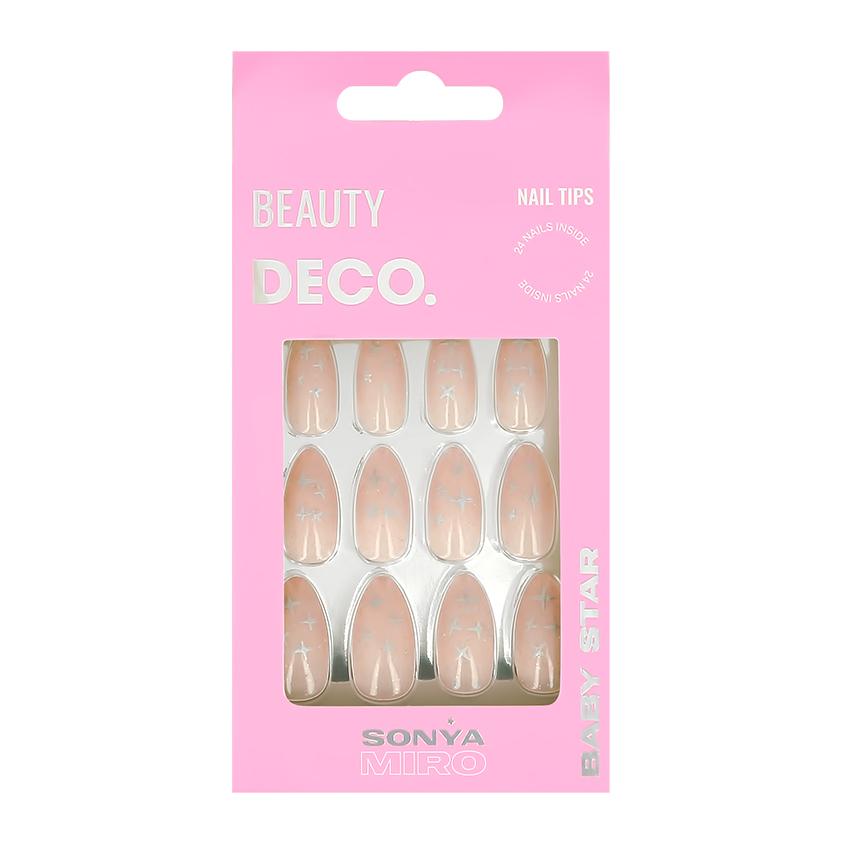 Набор накладных ногтей DECO. BABY STAR BY SONYA MIRO silver sky 24 шт + клеевые стикеры 24 шт