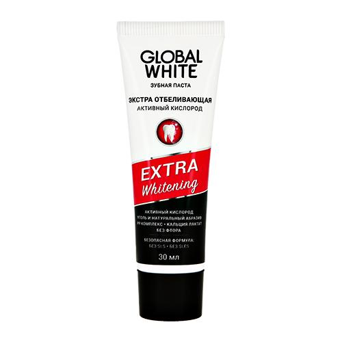 Паста зубная GLOBAL WHITE EXTRA WHITENING с углем и активным кислородом 30 мл